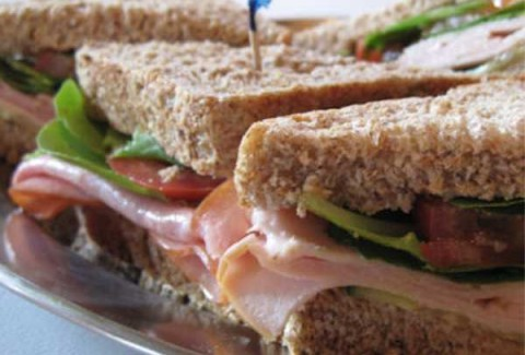 The Classic Mizuna Assortment of oven roasted turkey breast, tavern ham, Italian meats, freshly roasted top round of beef, tuna salad & vegetarian veggie on white, whole grain, wheat & rye breads. All sandwiches are made with provolone cheese, lettuce & tomatoes and are served with roasted peppers, roasted jalapenos & dijonaise on the side.