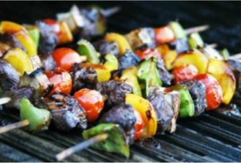 Marinated beef loin, chicken & and shrimp, skewered with bell peppers & red onions, mushrooms and cherry tomatoes