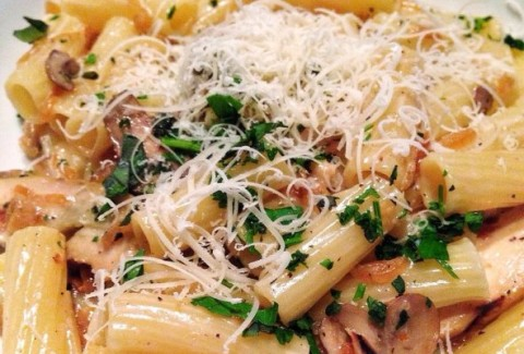 Rigatoni tossed with chicken and button mushrooms and served in our homemade marsala sauce.