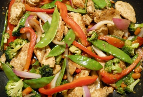Chicken & Asian vegetables stir fried and served with steamed rice and an oriental salad.