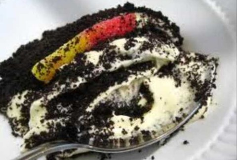 Our personalized secret recipe! Layers of Oreo cookie crumbles with sweet vanilla pudding and homemade whipped topping. Topped with gummy worms.