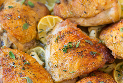 Chicken thighs, legs, wings & breasts marinated in fresh herbs and extra virgin olive oil and baked to a juicy perfection.