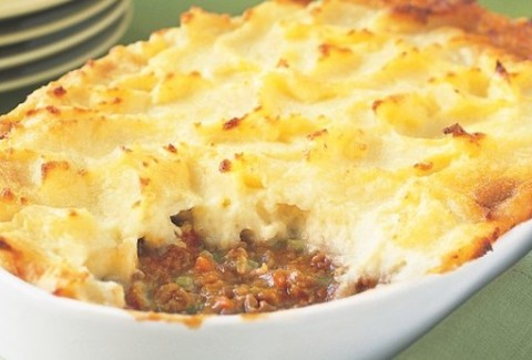 Shepherd's pie made with ground beef, Italian sausage, garlic broccoli rabe. Topped with mashed potatoes, provolone and baked.