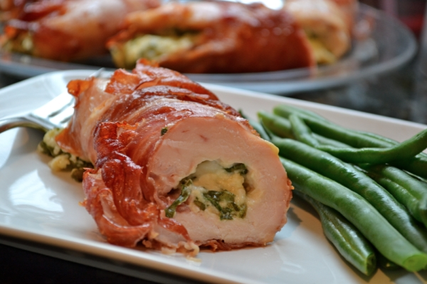 Our stuffed chicken breasts with thinly sliced prosciutto.