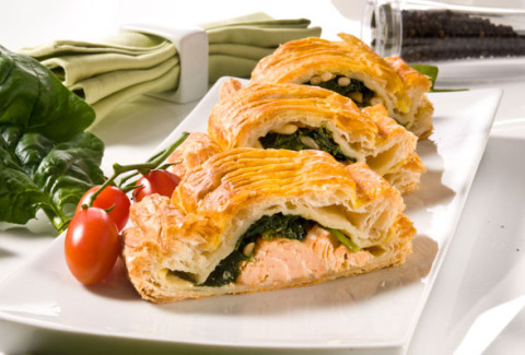 A house favorite! Salmon & creamed leeks wrapped in flaky phyllo dough and baked until golden and delicious.