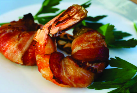 Bacon & horseradish wrapped U 16-20 shrimp, baked to perfection.